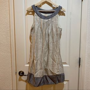 Renee C. Metallic Shift Dress Medium Silver Cream